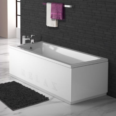 High Gloss White Engraved 2 Piece adjustable Bath Panels
